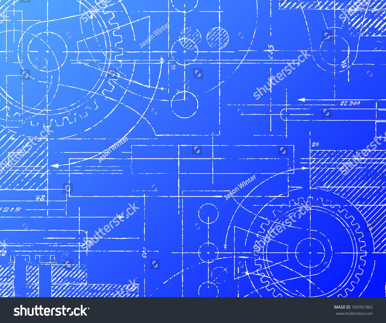 Grungy Technical Blueprint Vector Illustration On Stock