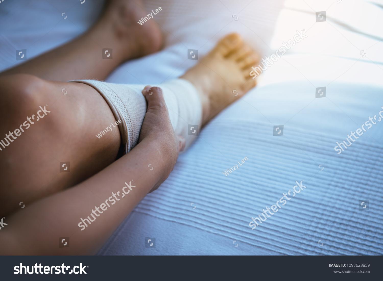 Woman Using Put On Elastic Bandage Stock Photo Edit Now 1097623859