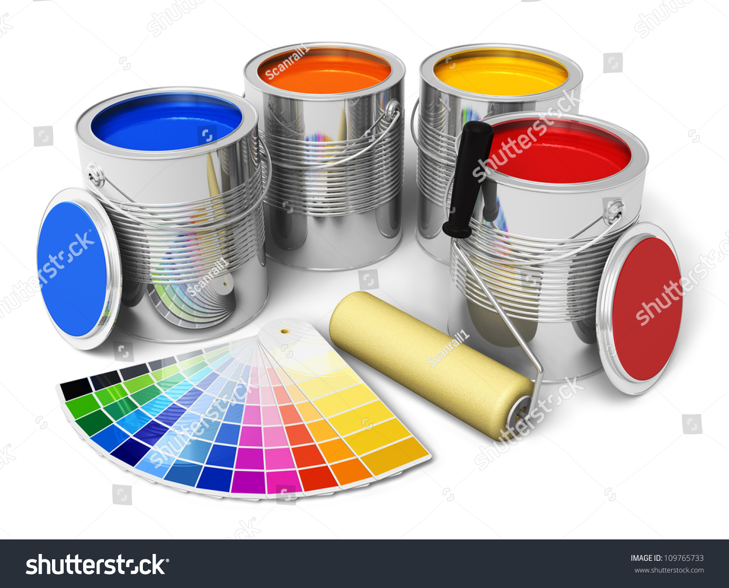 cans with color paint roller brush and color guide isolated on white. Black Bedroom Furniture Sets. Home Design Ideas