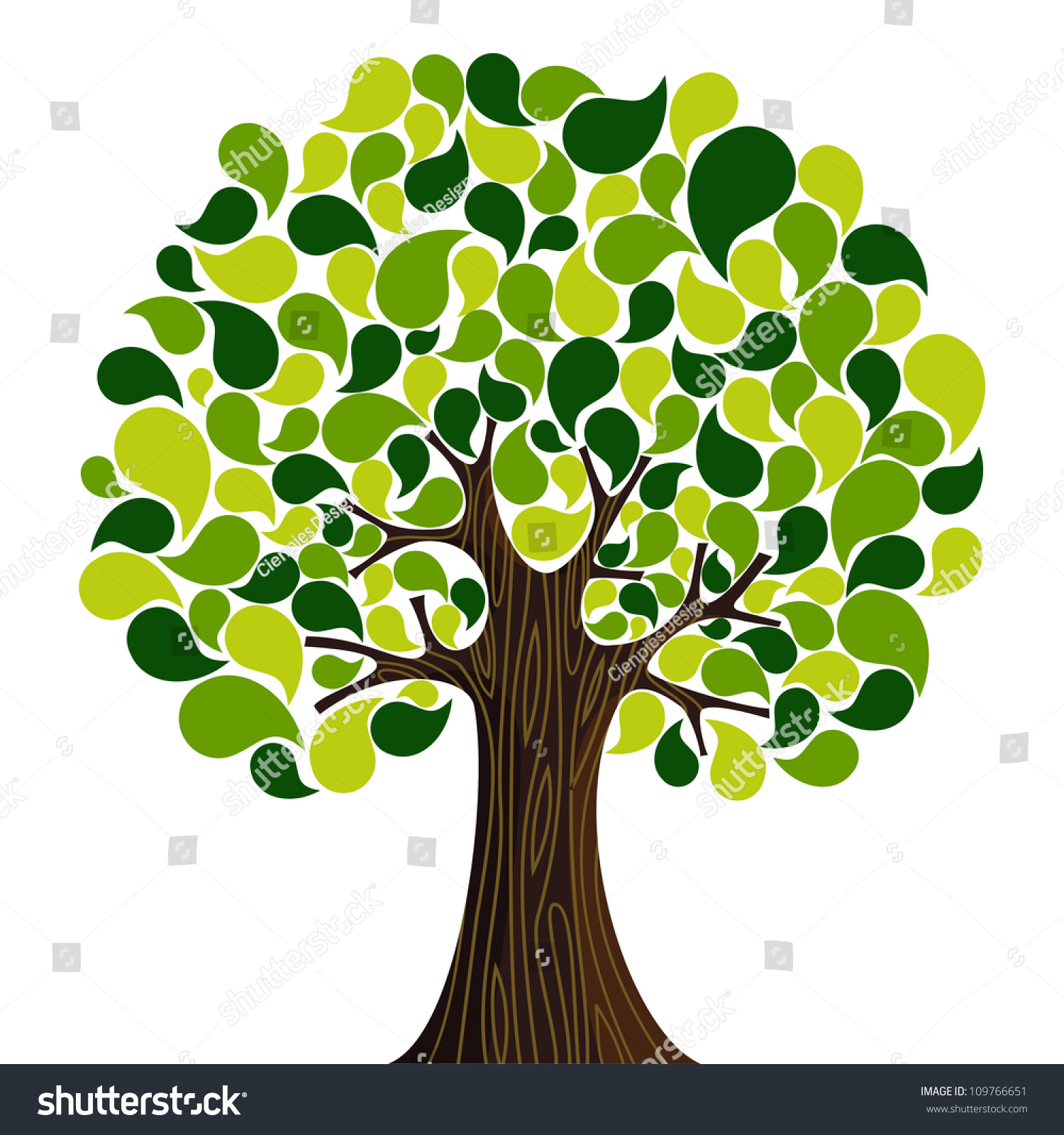Abstract Spring Time Tree Composition Flowers Stock Vector (Royalty ...