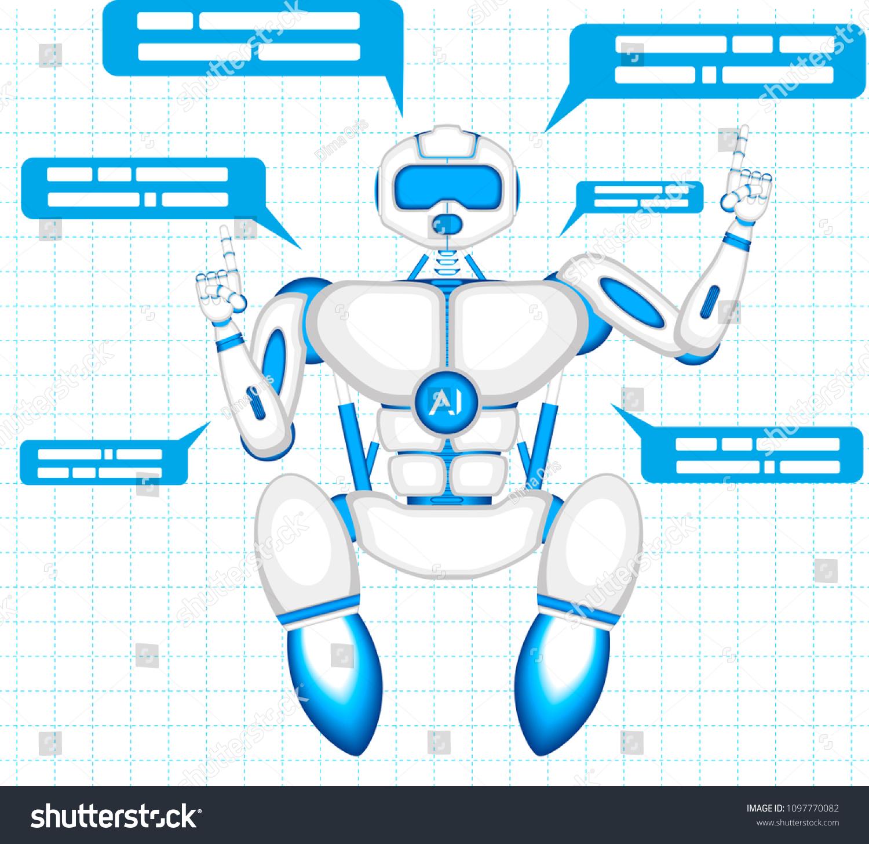 Chat Bot Speech Bubbles Robot Virtual Stock Vector (Royalty
