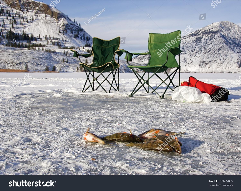 Ice fishing setup on palmer lake stock photo 109777865 for Ice fishing setup