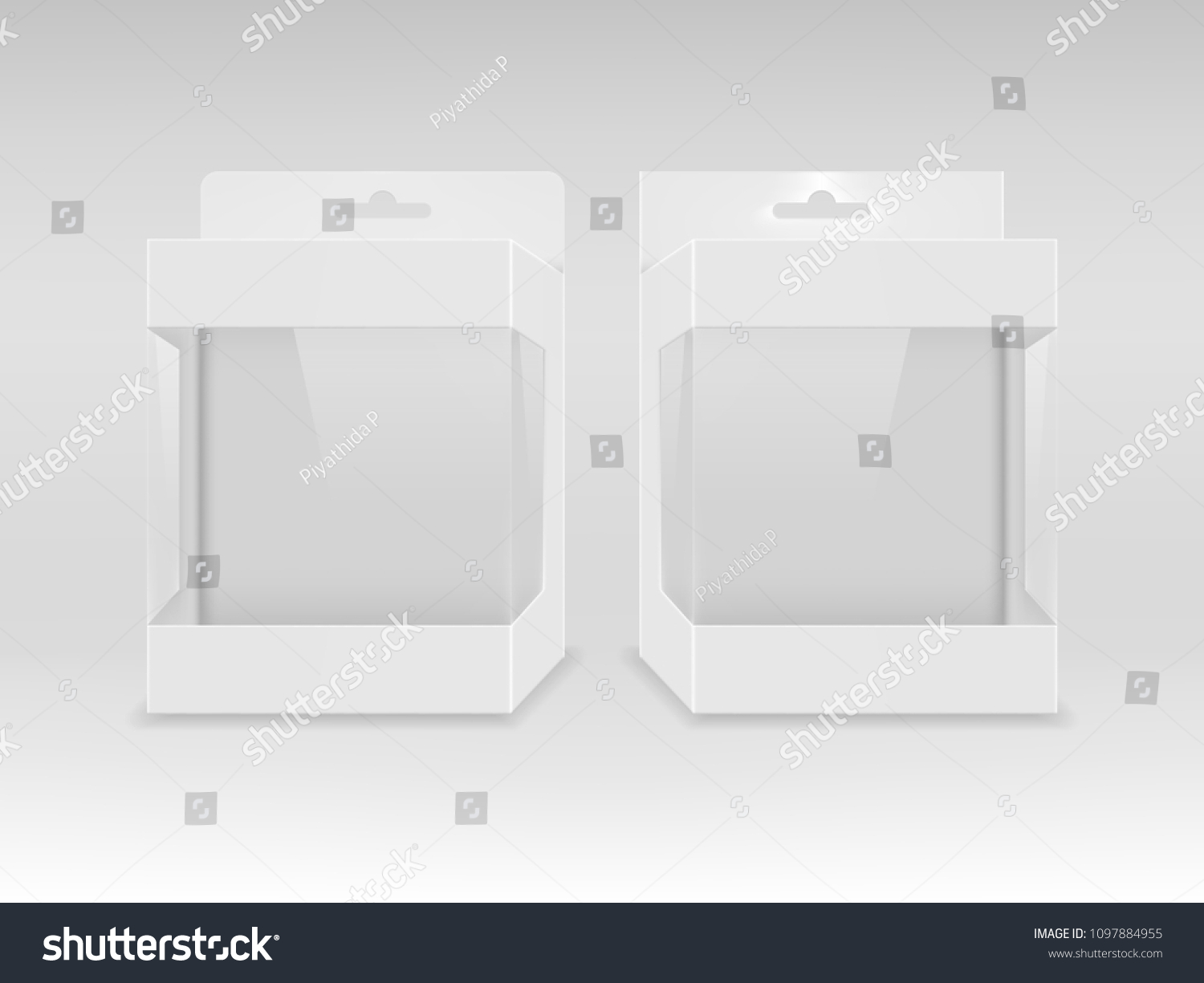 paper white packaging box transparent window stock vector royalty