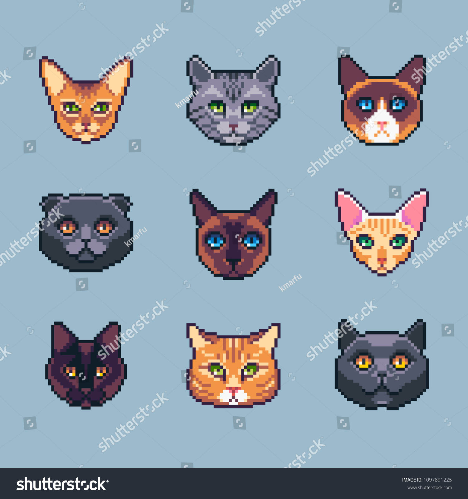 Pixel Art Cats Set Vector Illustration Stock Vector Royalty