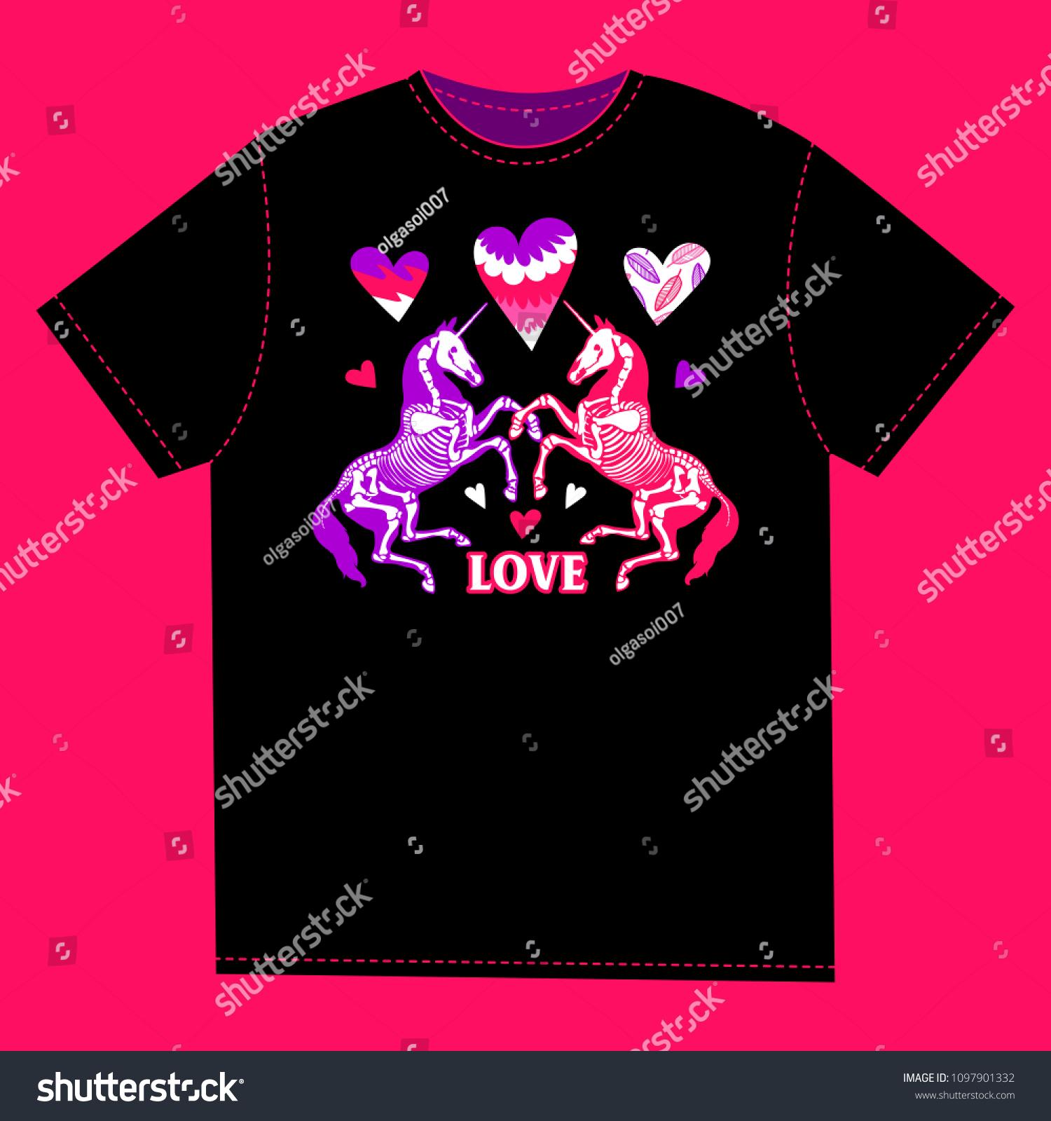 Tshirt Print Enamored Unicorns Among Hearts Stock Vector 1097901332