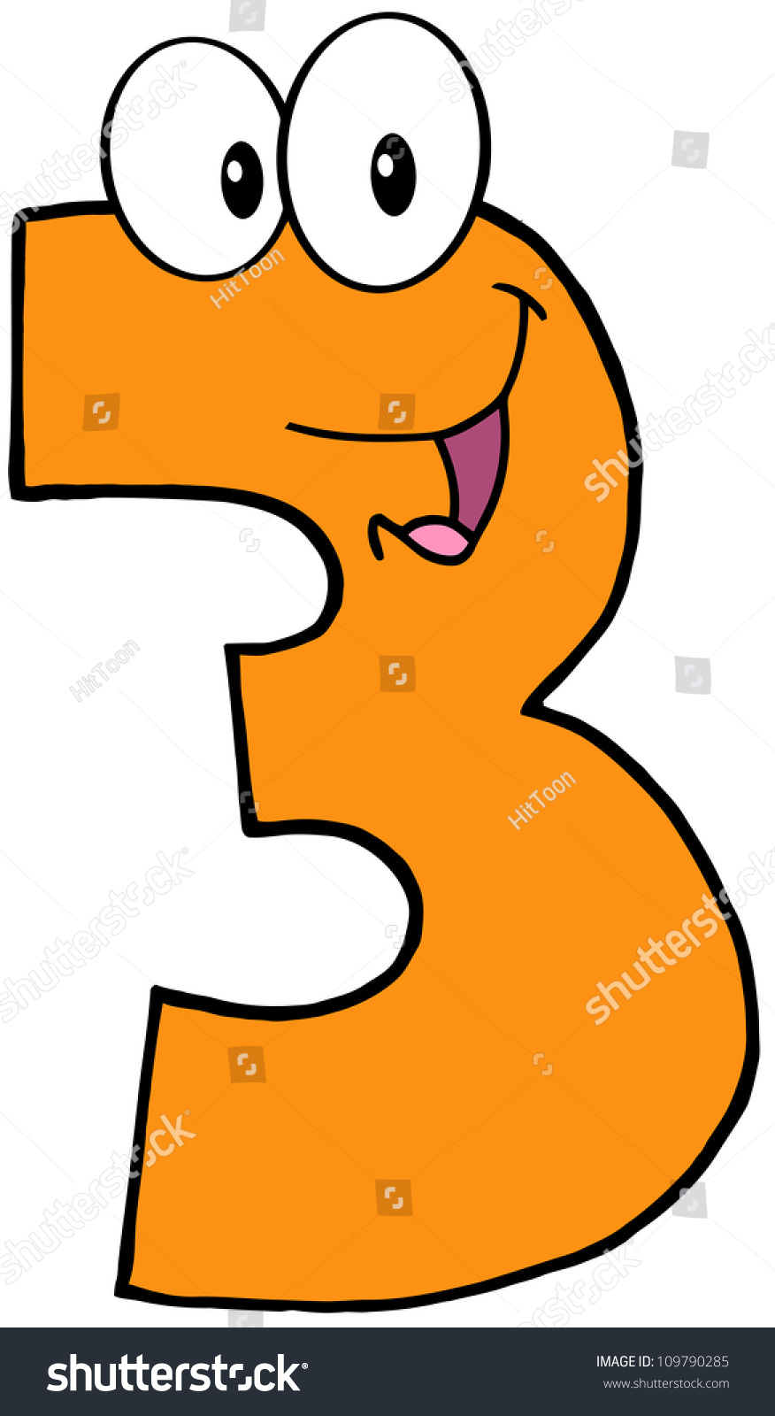 Number Three Funny Cartoon Character Stock Vector