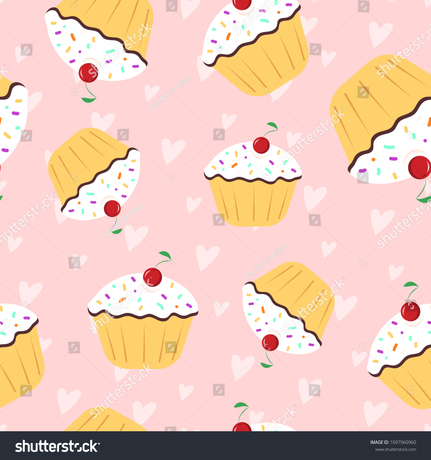 Vector Seamless Pattern With Cap Cake On Backdrop With Heart