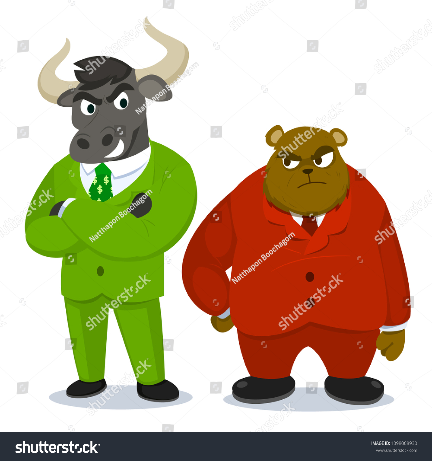 Bull Bear Market Cartoon Set Symbol