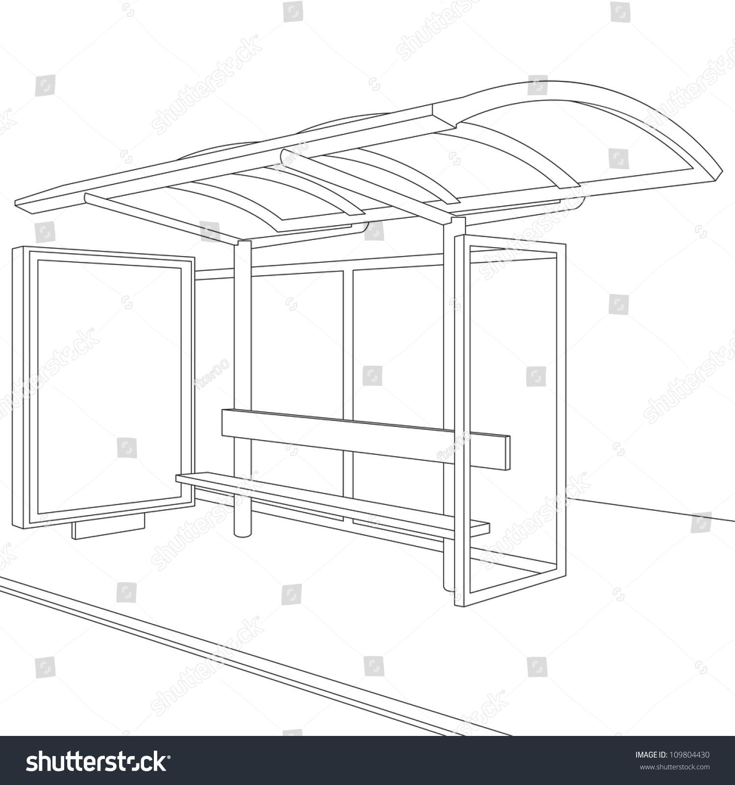 bus stop empty design template branding stock illustration
