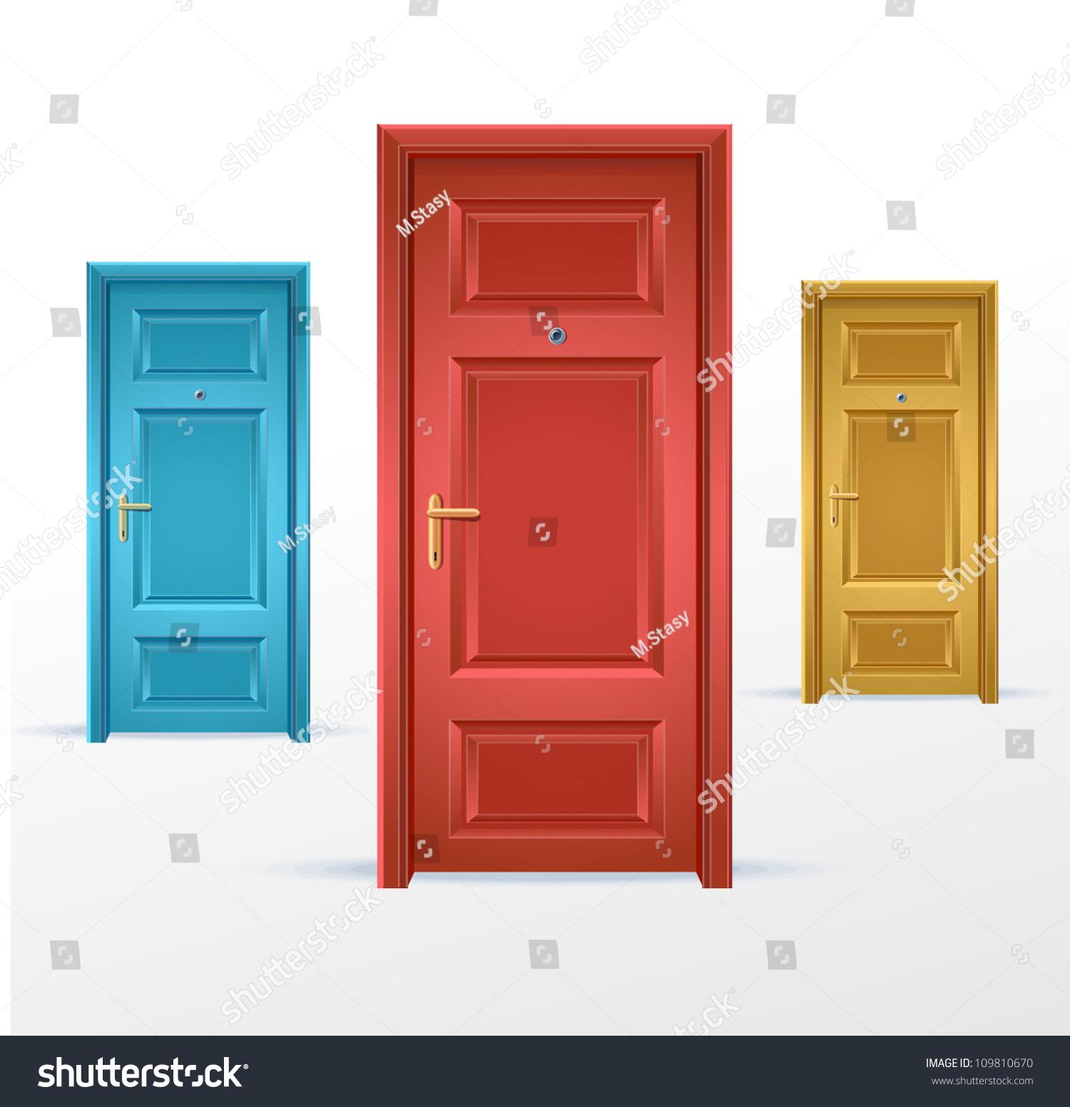 vector three doors blue red yellow stock vector royalty free rh shutterstock com