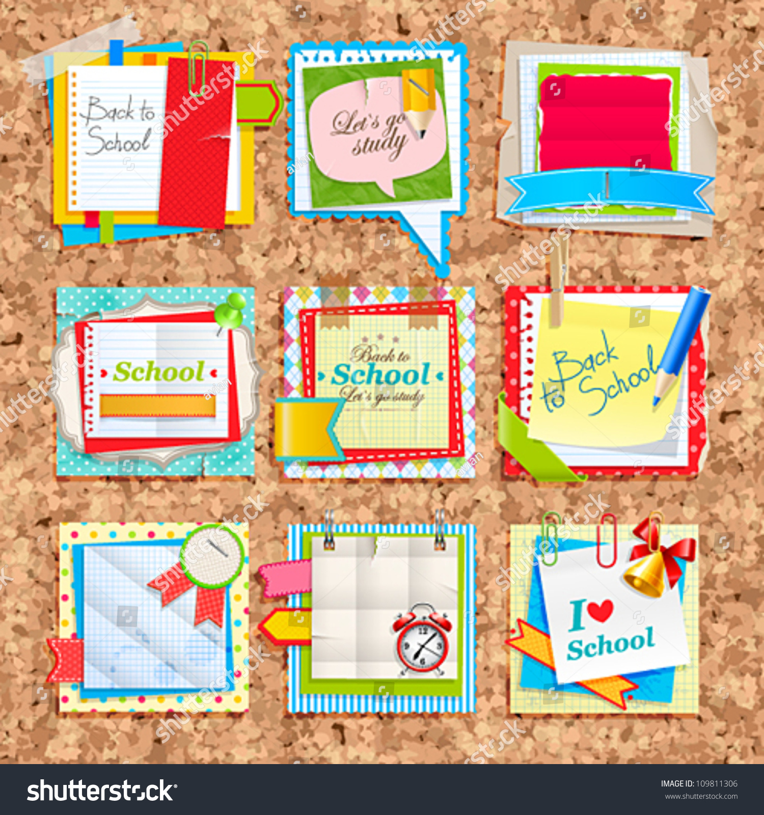 Scrapbook paper note - Paper Notes On Cork Board Scrapbooking Elements