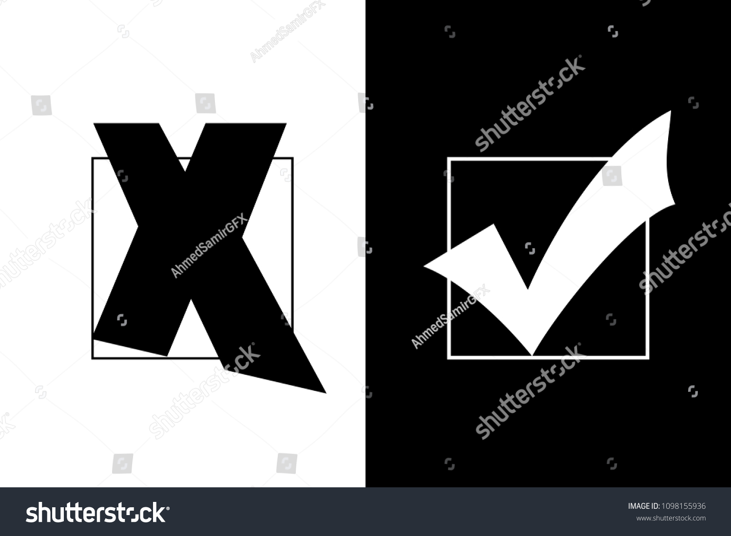 Check Mark Cross Mark Symbols Black Stock Illustration 1098155936