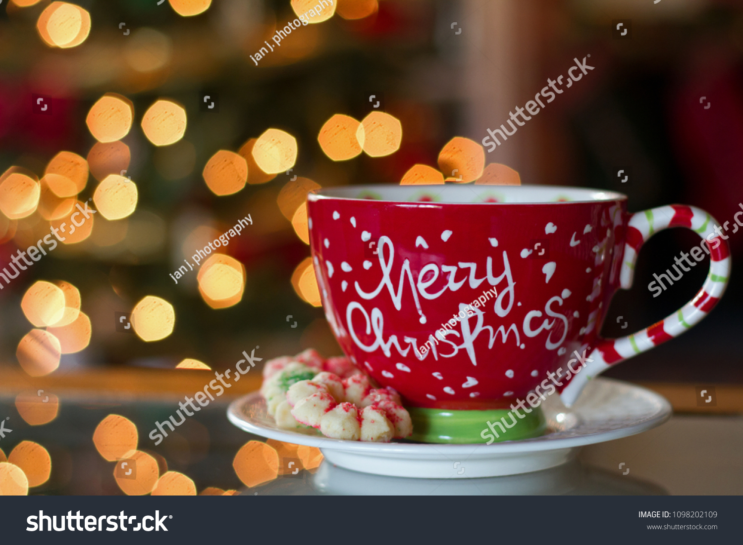 Photograph Christmas Mug Christmas Cookies Front Stock Photo Edit Now 1098202109