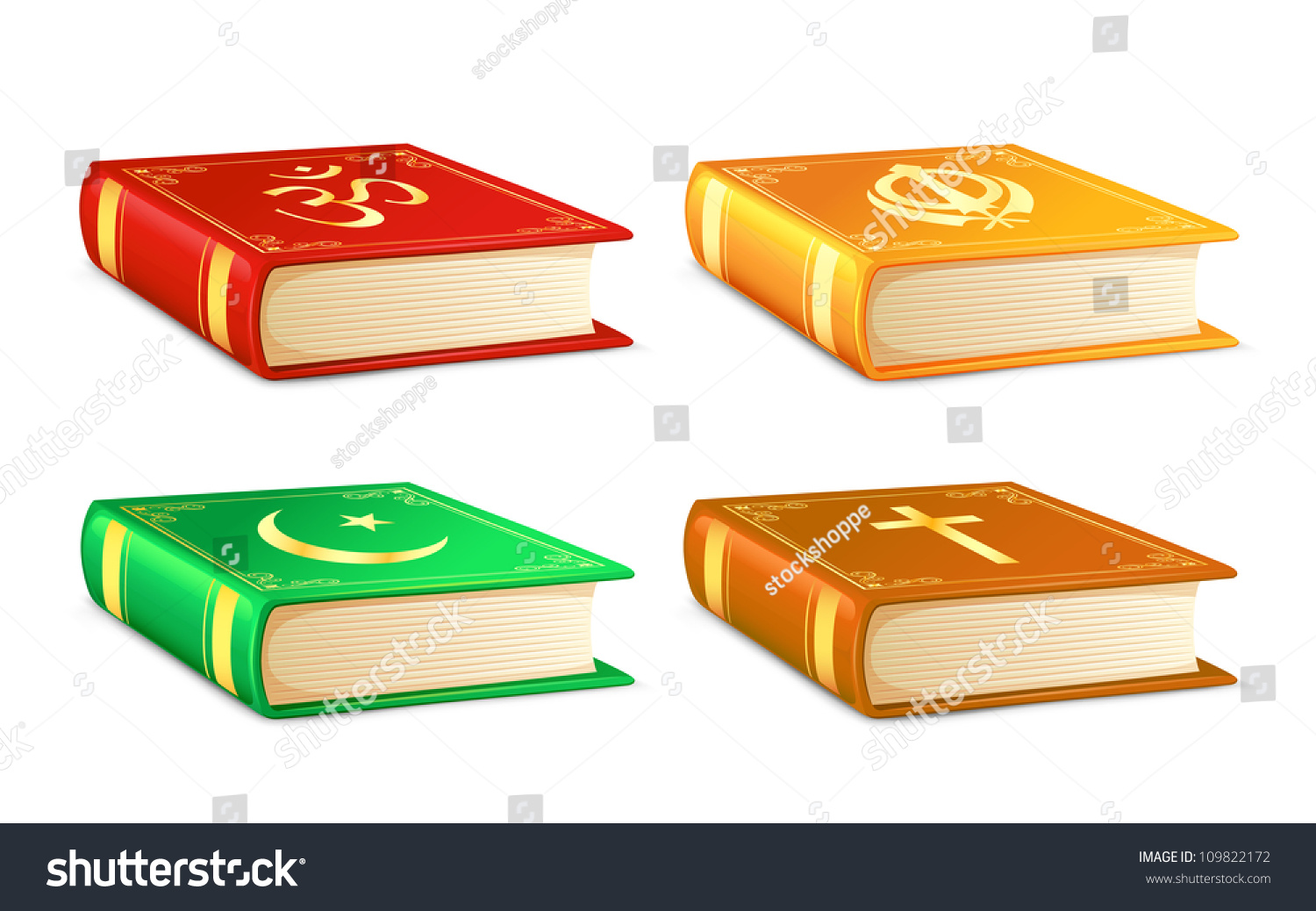 Vector Illustration Holy Book Different Religion Stock Vector ...