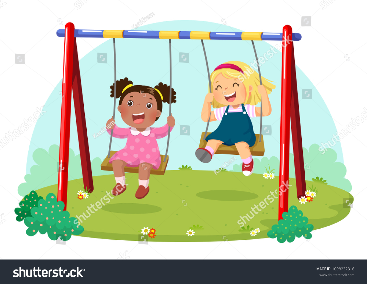 Vector illustration of cute kids having fun on swing in playground