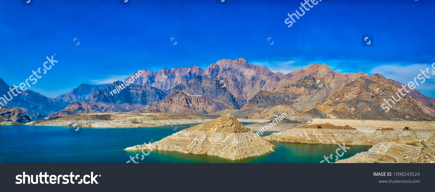 Panoramic view of catchment area of Wadi Dayqah Dam, Quriyat, Muscat, Oman