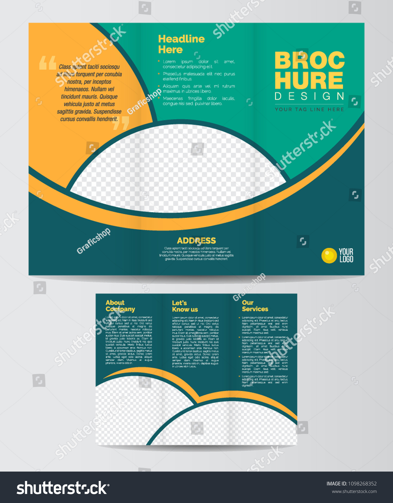 tri fold business corporate brochure design layout stock vector