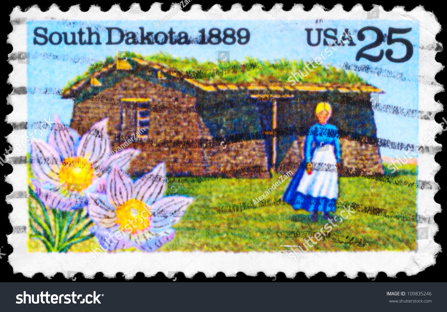 Usa Circa 1989 A Stamp Printed In Usa Shows The State Flower Pioneer Woma