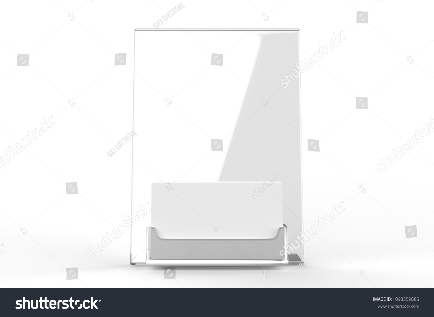 Blank white counter top acrylic business stock illustration blank white counter top acrylic business card display with sign holder 3d render illustration reheart Images