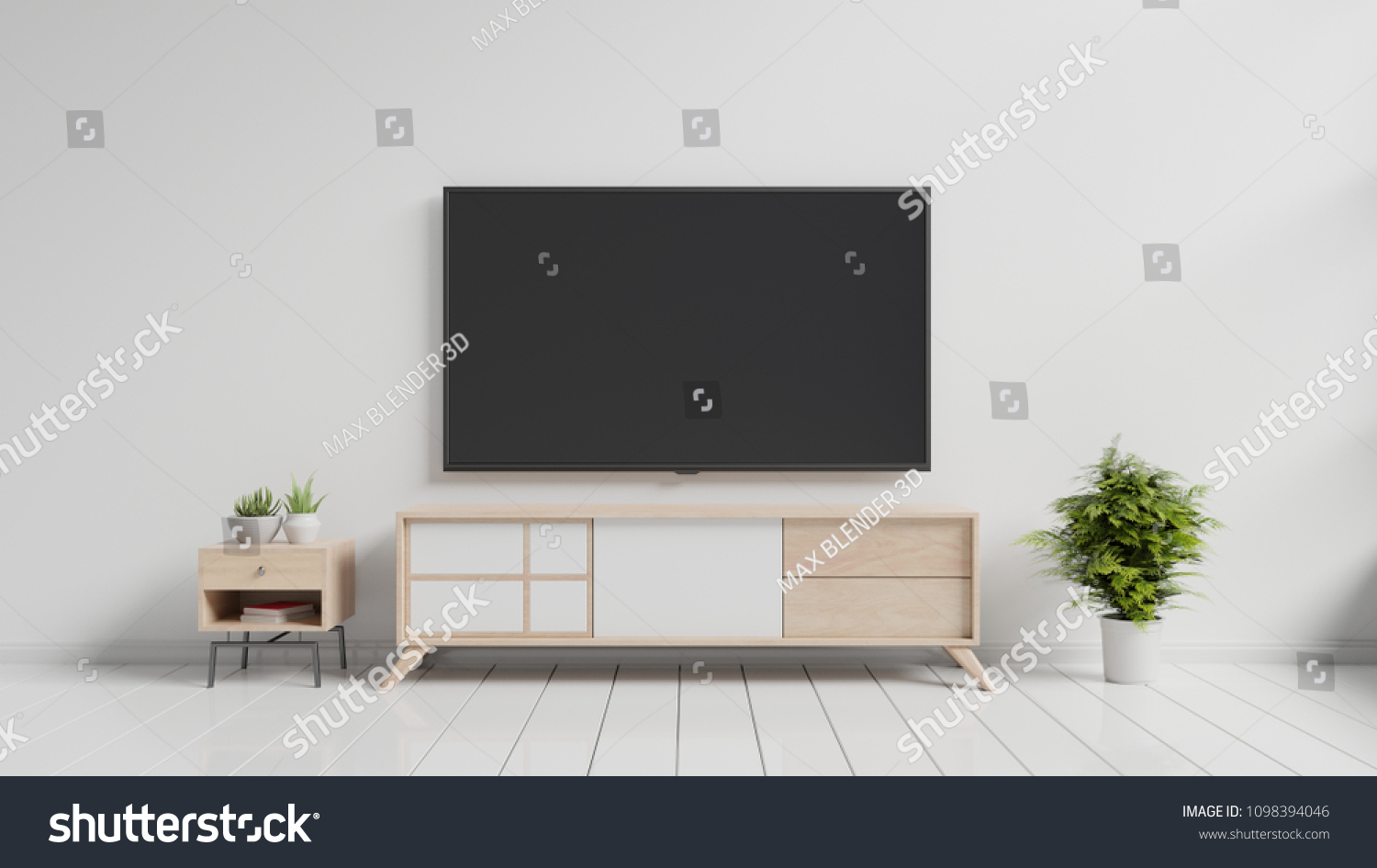 TV On Cabinet Modern Living Room Stock Illustration 1098394046 ...