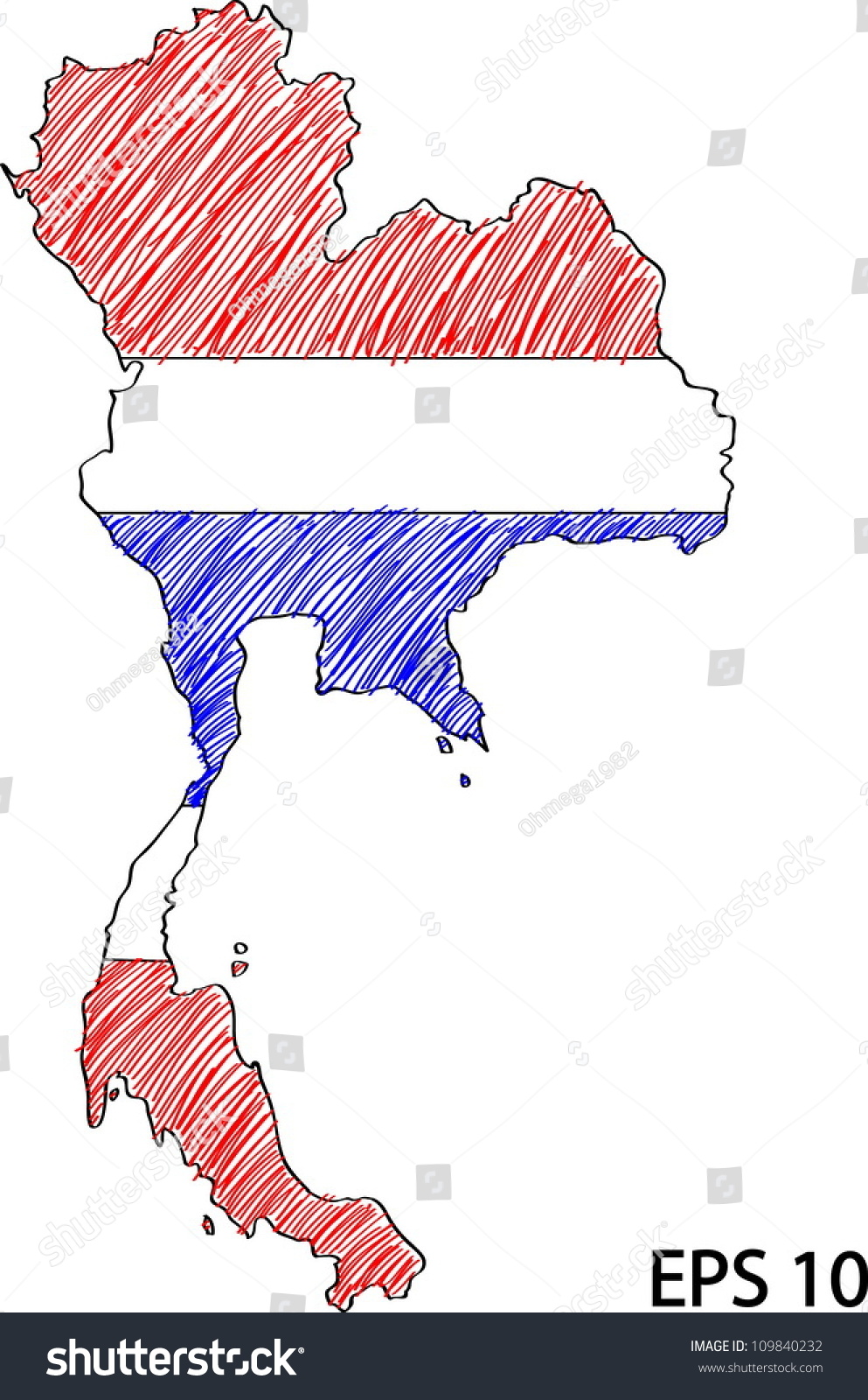 Thailand Flag Coloring Page #5