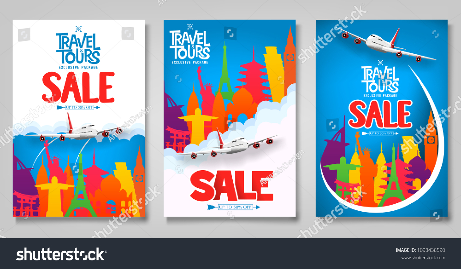 travel tours sale promotional posters template のベクター画像素材