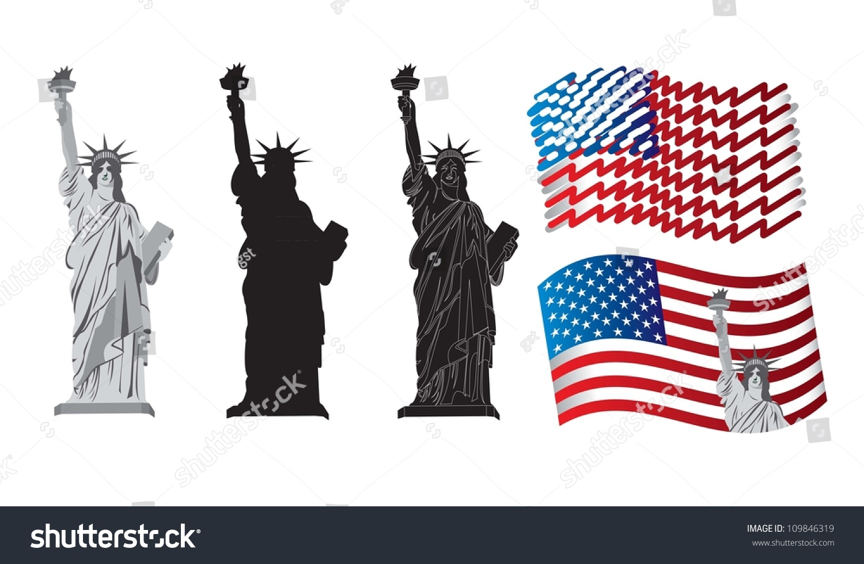 Symbols american patriotism statue liberty stock vector 109846319 symbols of american patriotism with the statue of liberty biocorpaavc Images