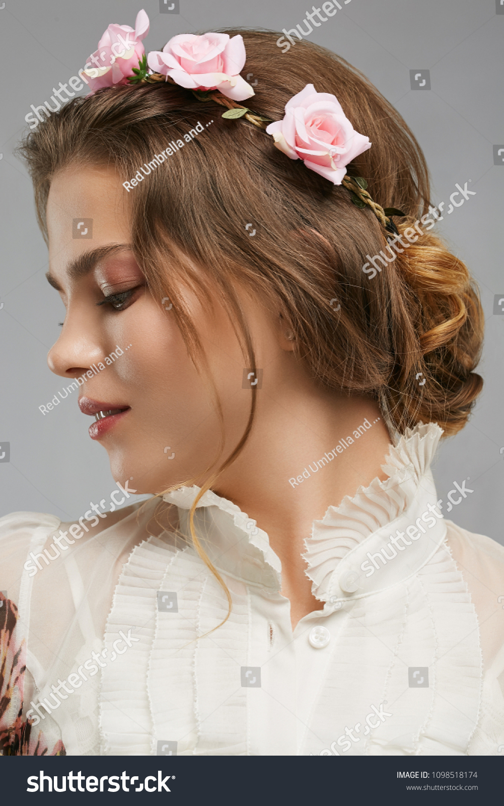 Profile Portrait Beautiful Young Lady Flower Stock Photo Edit Now