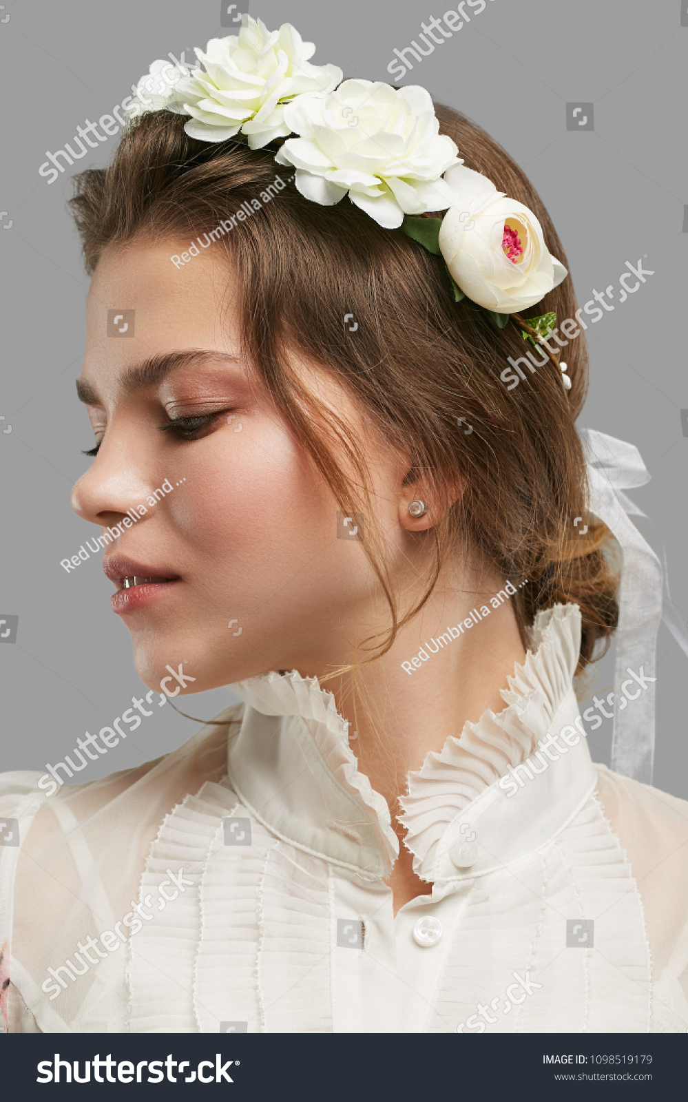 Profile portrait young lady bridal flower stock photo edit now profile portrait of a young lady with a bridal flower crown in a vintage blouse izmirmasajfo