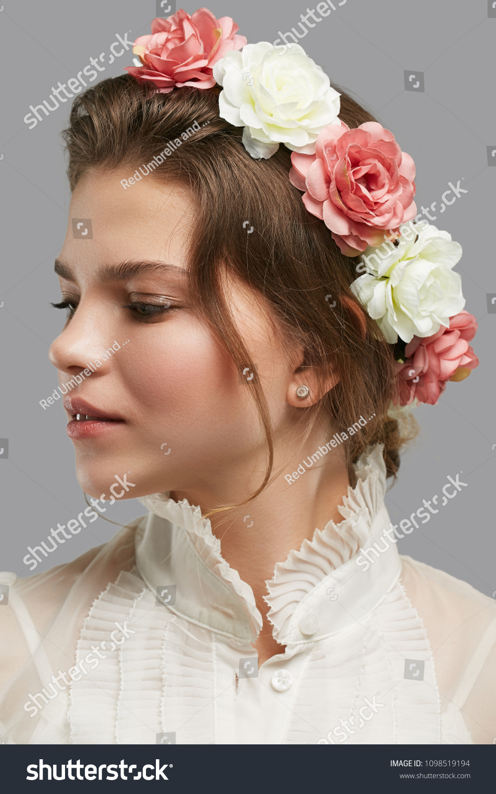 Profile Portrait Charming Young Lady Bridal Stock Photo Royalty