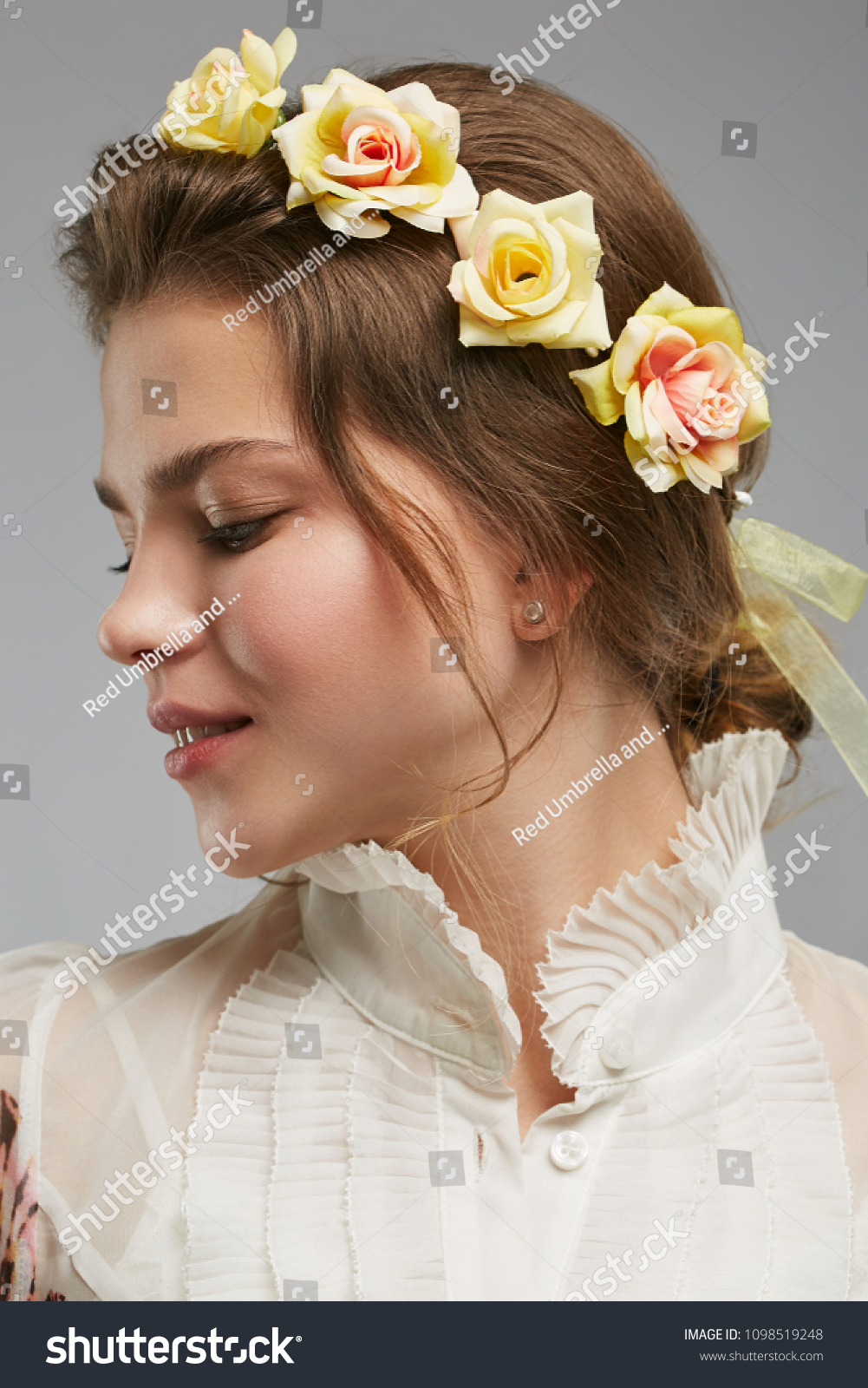 Profile portrait charming young lady bohemian stock photo edit now profile portrait of a charming young lady with a bohemian flower crown in a white izmirmasajfo