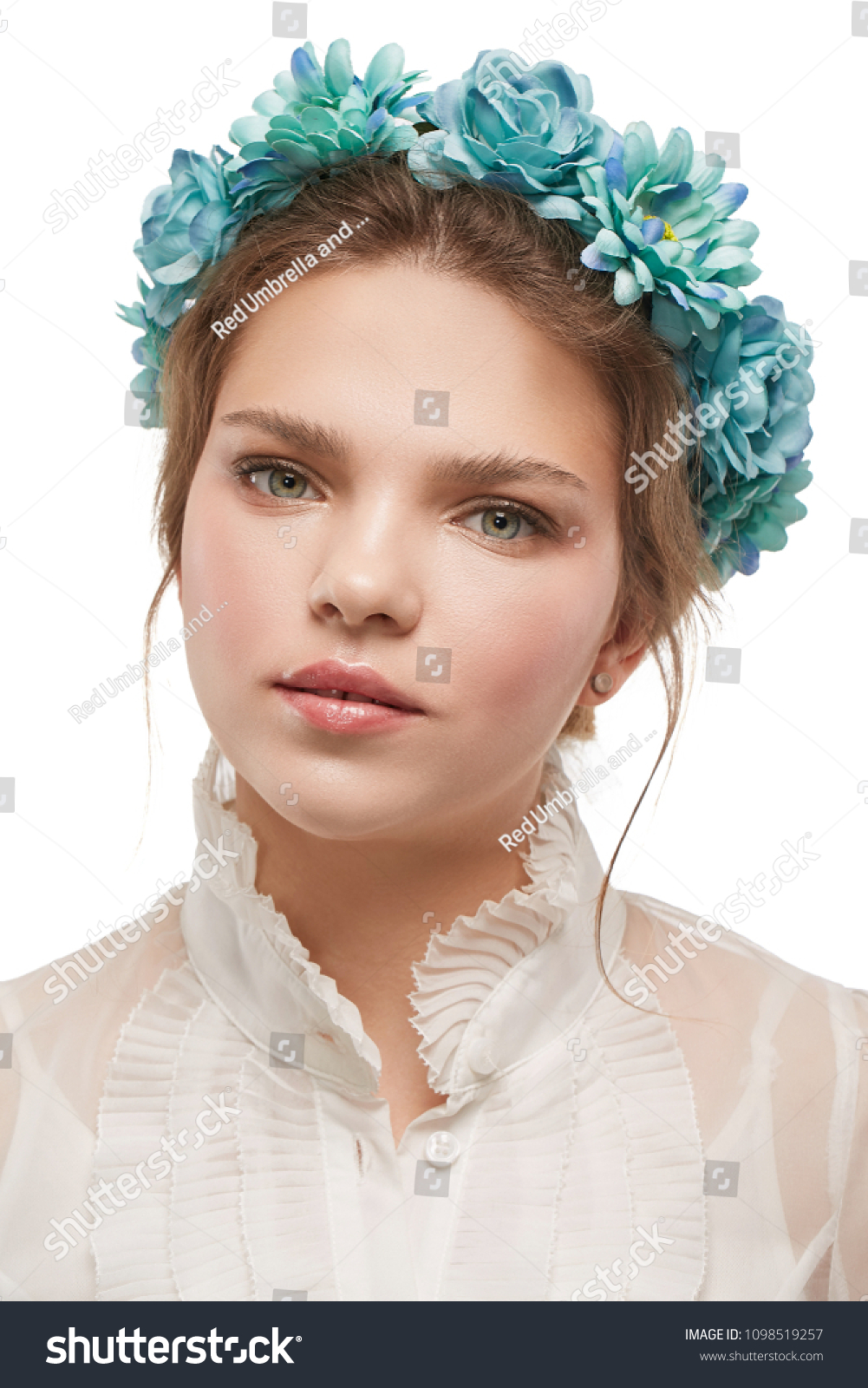 Portrait charming young lady boho flower stock photo edit now portrait of a charming young lady with a boho flower crown in a white blouse izmirmasajfo