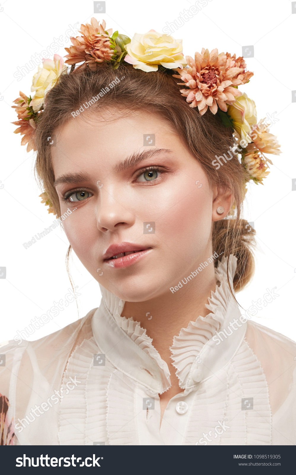 Portrait young lady bohemian flower crown stock photo edit now portrait of a young lady with a bohemian flower crown in a white blouse izmirmasajfo