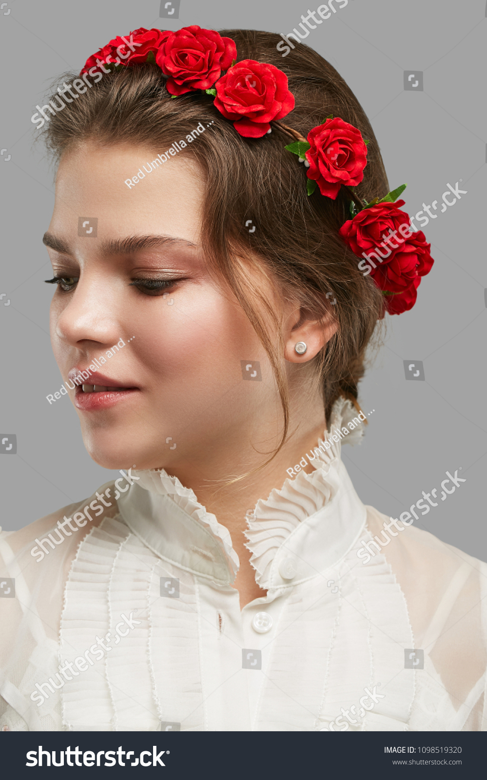 Portrait charming young lady bohemian flower stock photo edit now portrait of a charming young lady with a bohemian flower crown in a white vintage izmirmasajfo