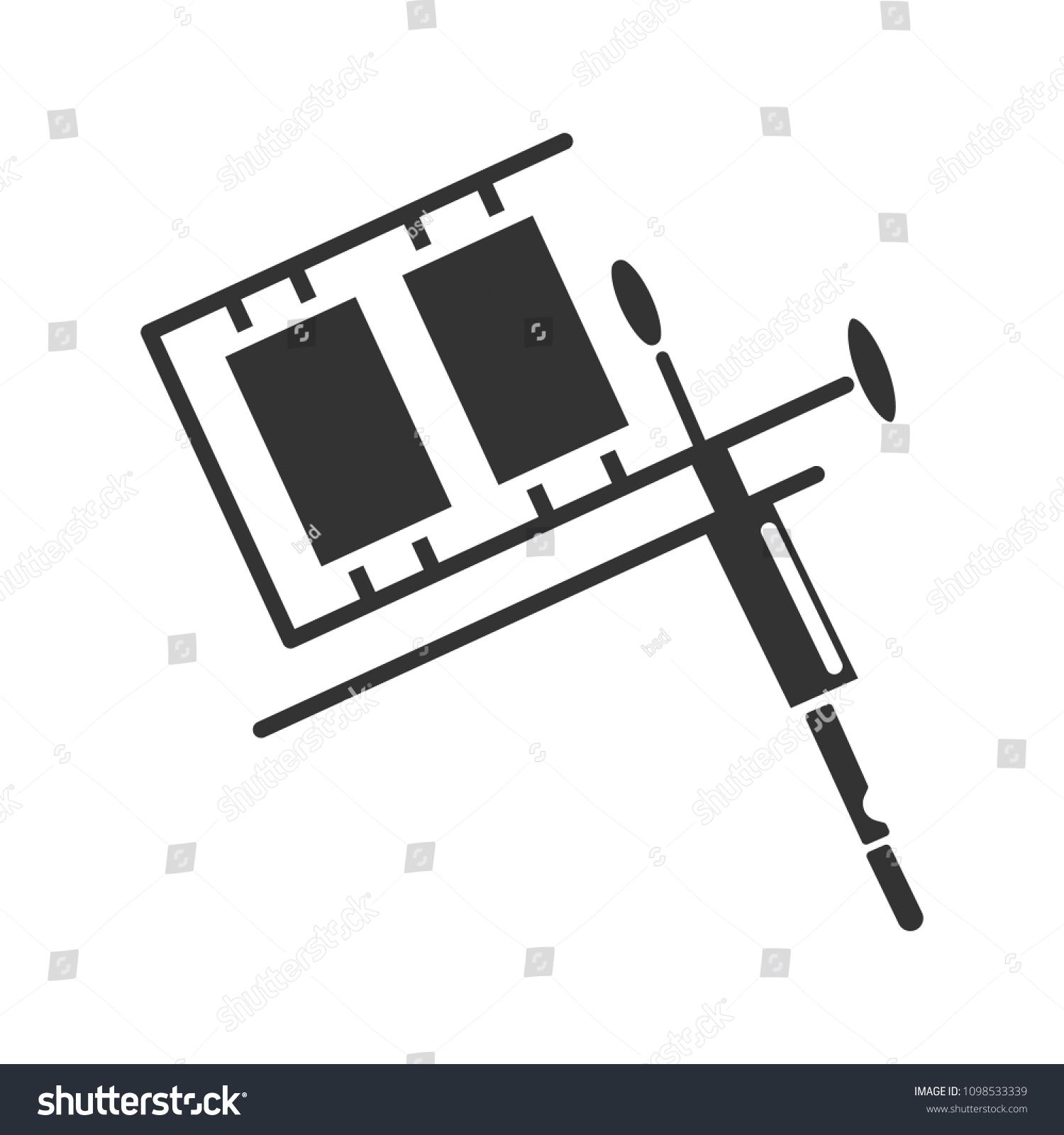 Tattoo Machine Glyph Icon Silhouette Symbol Stock Illustration Gun Diagram Negative Space Raster Isolated