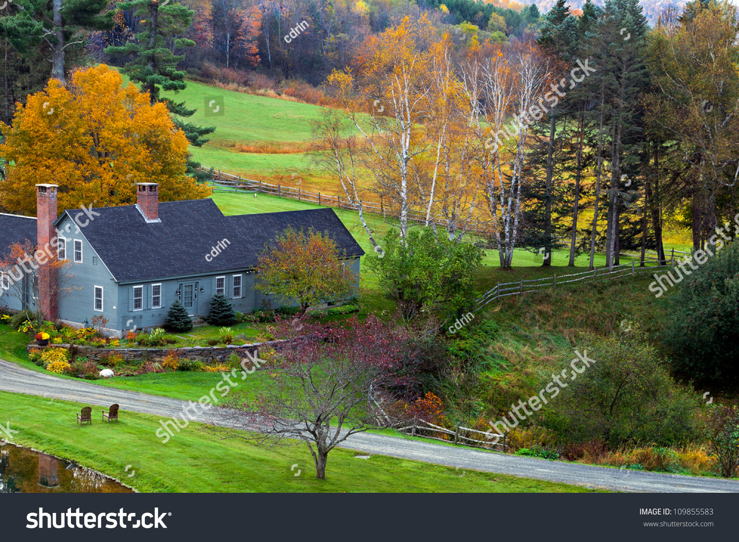 Farm House Green Fields Colorful Fall Stock Photo (Royalty Free ...