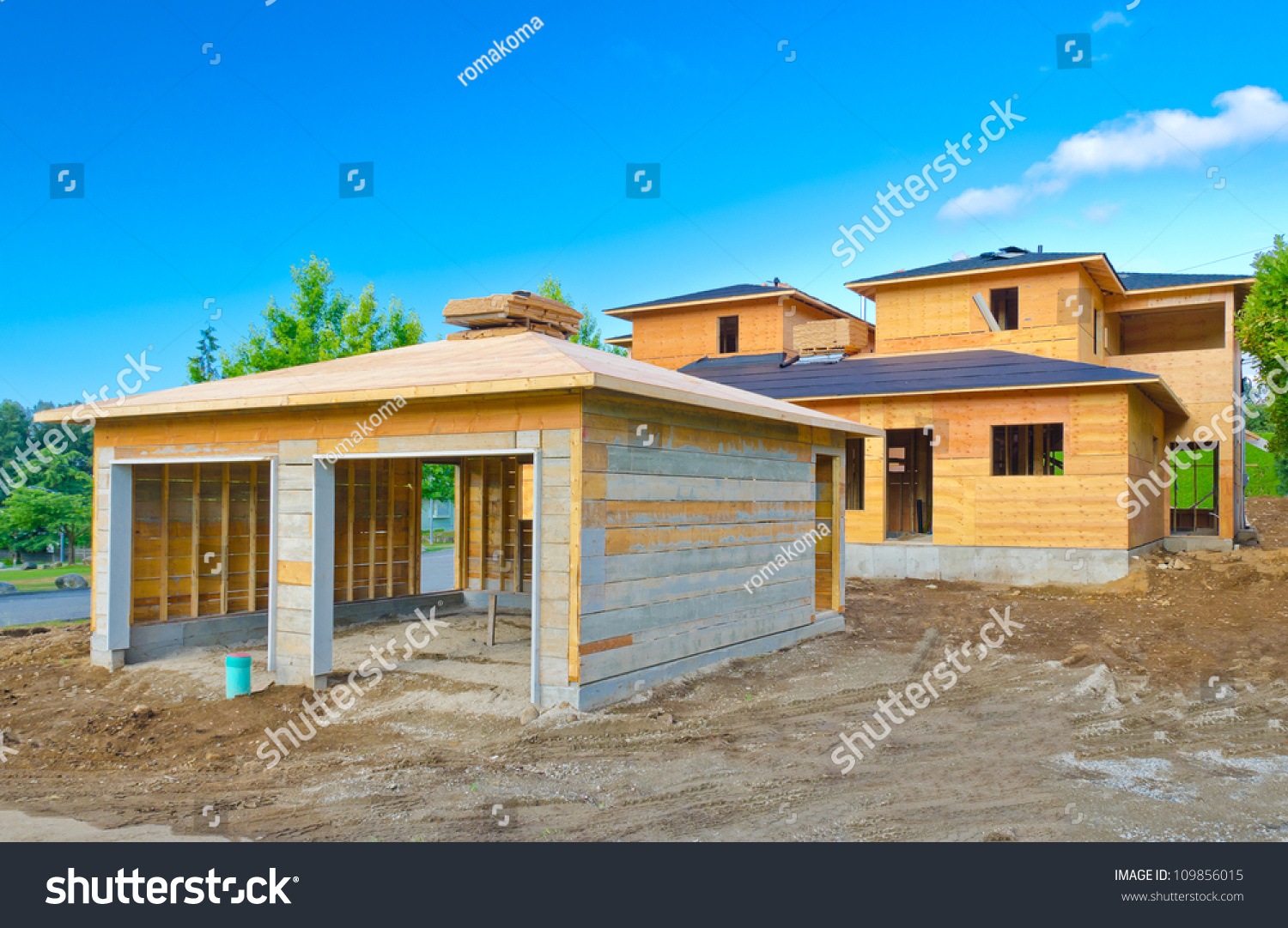 Double doors garage house home under stock photo 109856015 for Construction garage double