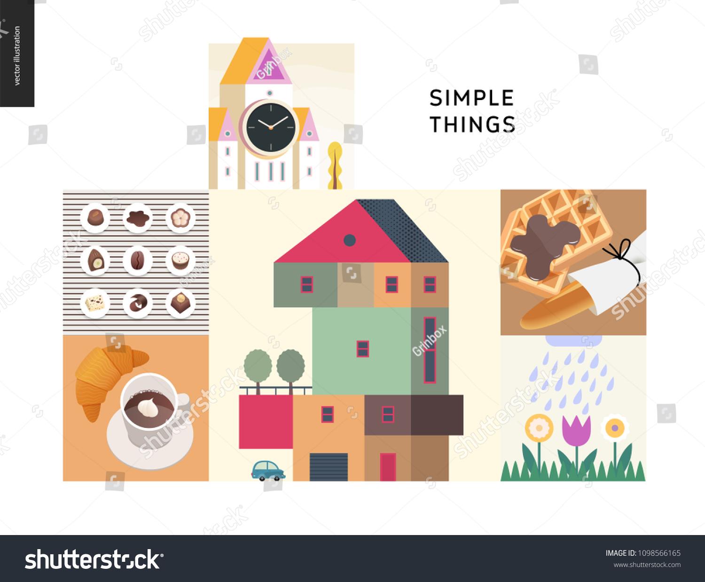 Simple Things Color Set Flat Cartoon Stock Vector (Royalty Free ...