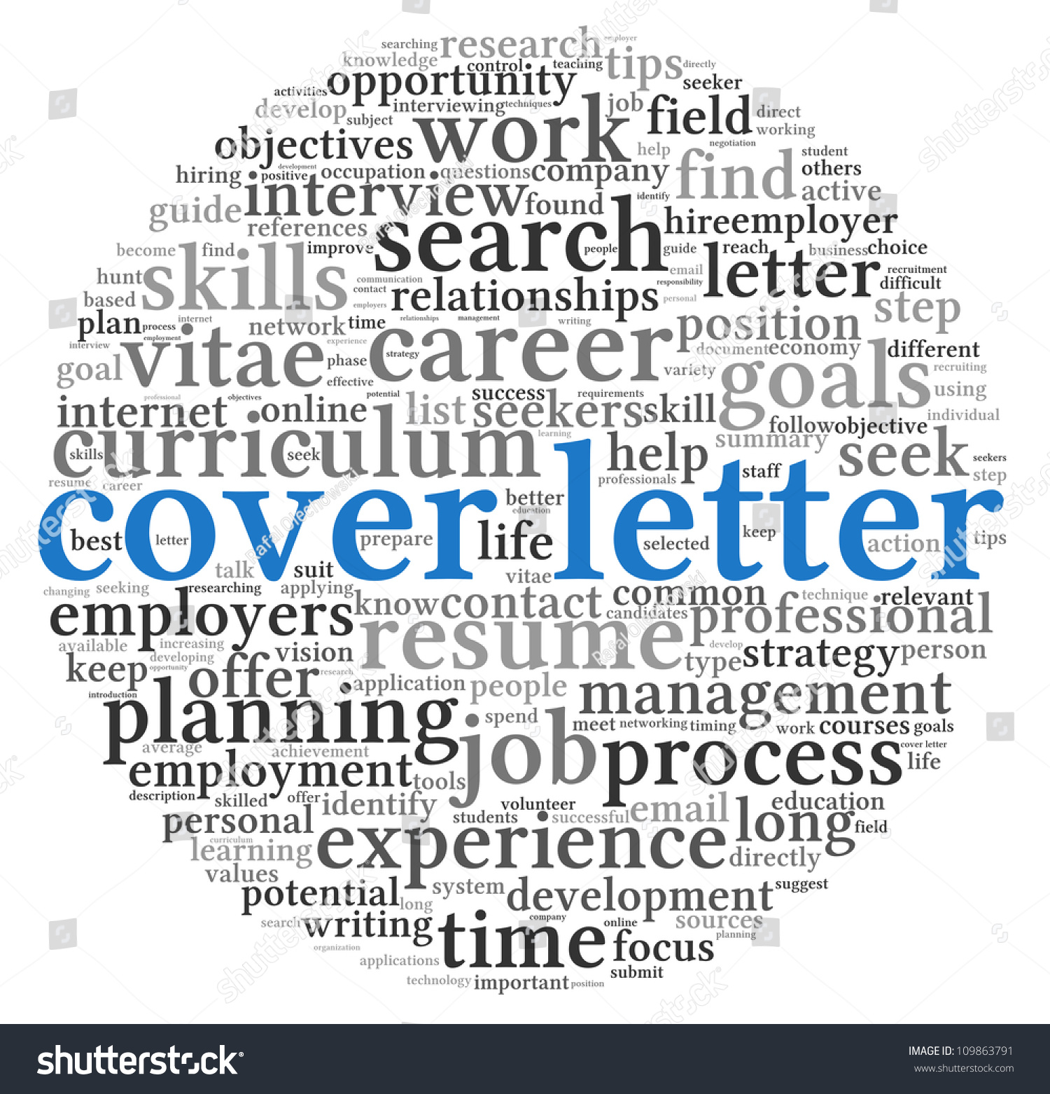 cover letter concept word tag cloud stock illustration