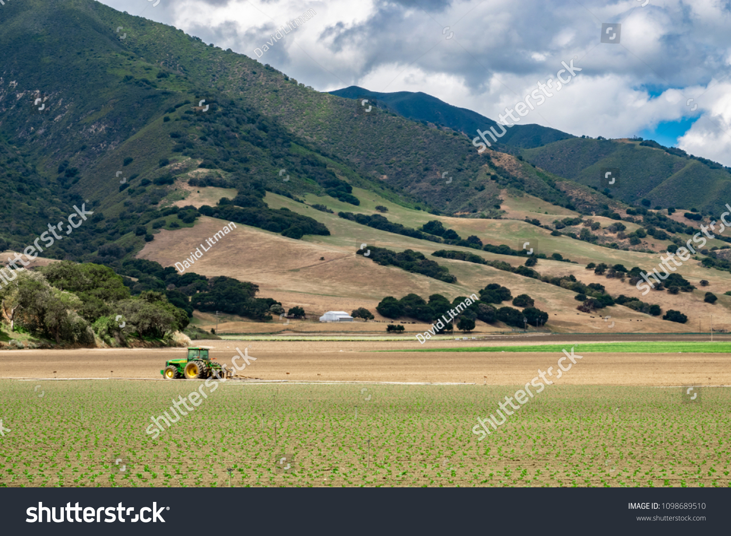 Salinas, California - May 16, 2018: The rural farms of the Salinas Valley of central California grow crops for worldwide distribution.