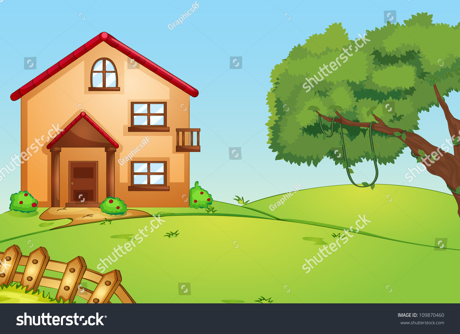 Illustration of a beautiful house in green nature for Beautiful house music