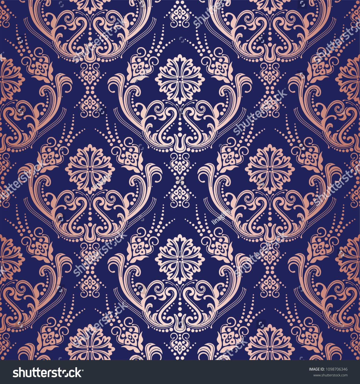 Rose Gold Floral Damask Wallpaper On Stock Vector Royalty Free