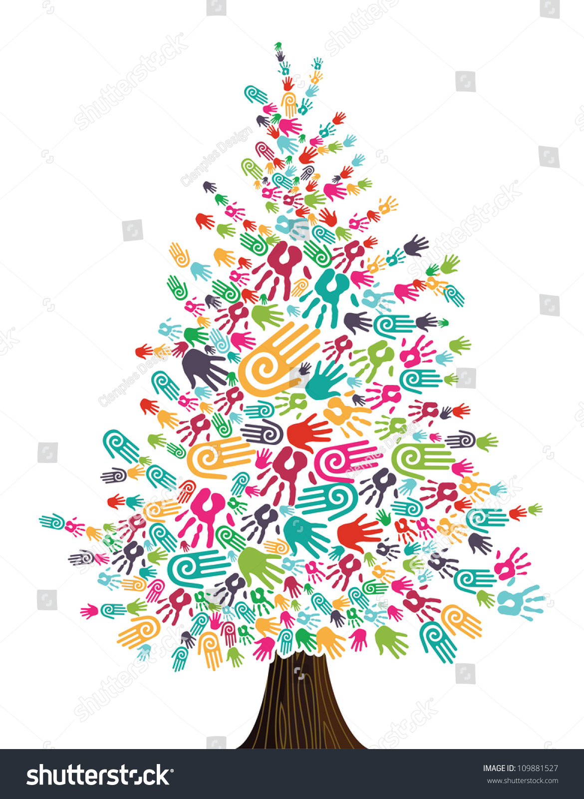 Diversity Christmas Tree Hands Isolated For Greeting Card. Vector ...