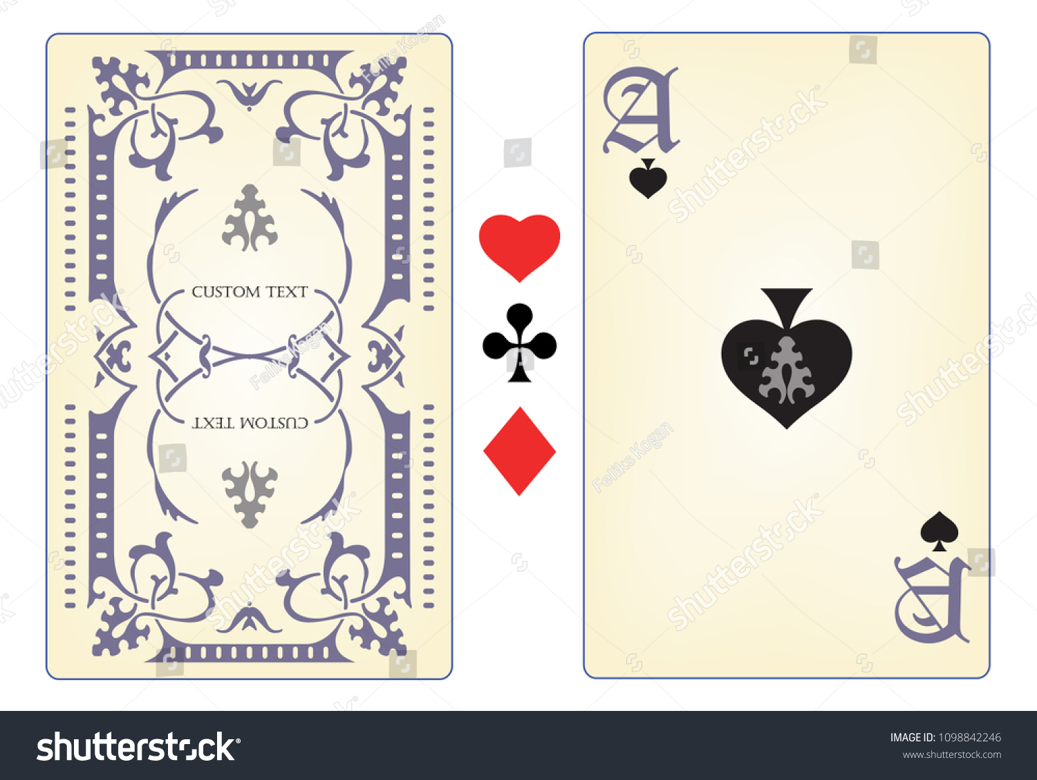 Playing Card Template Stock Vector Royalty Free 1098842246