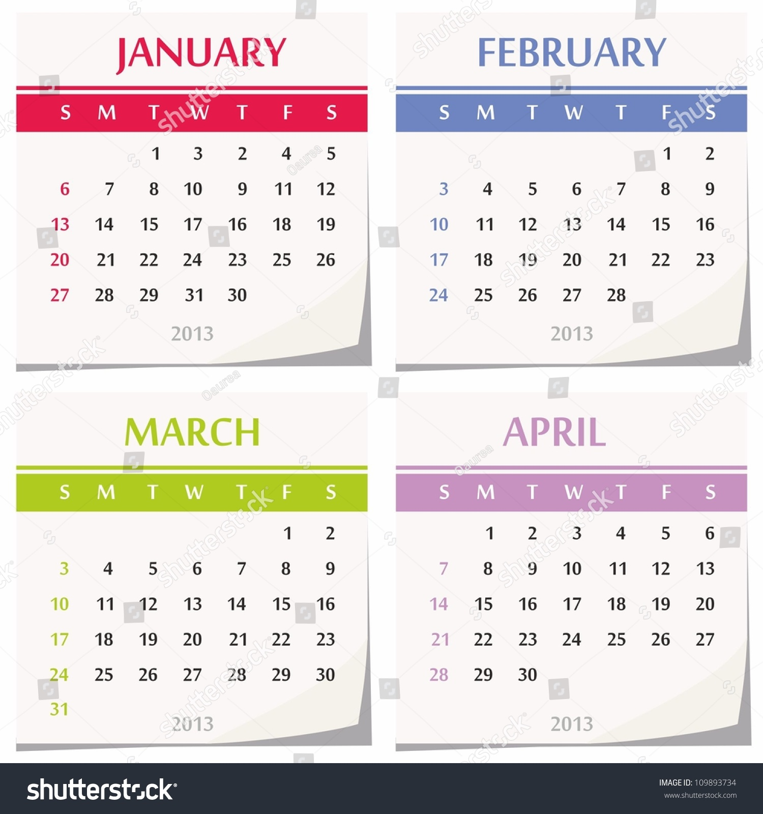 Calendar April Vector : Calendar set four months january stock vector