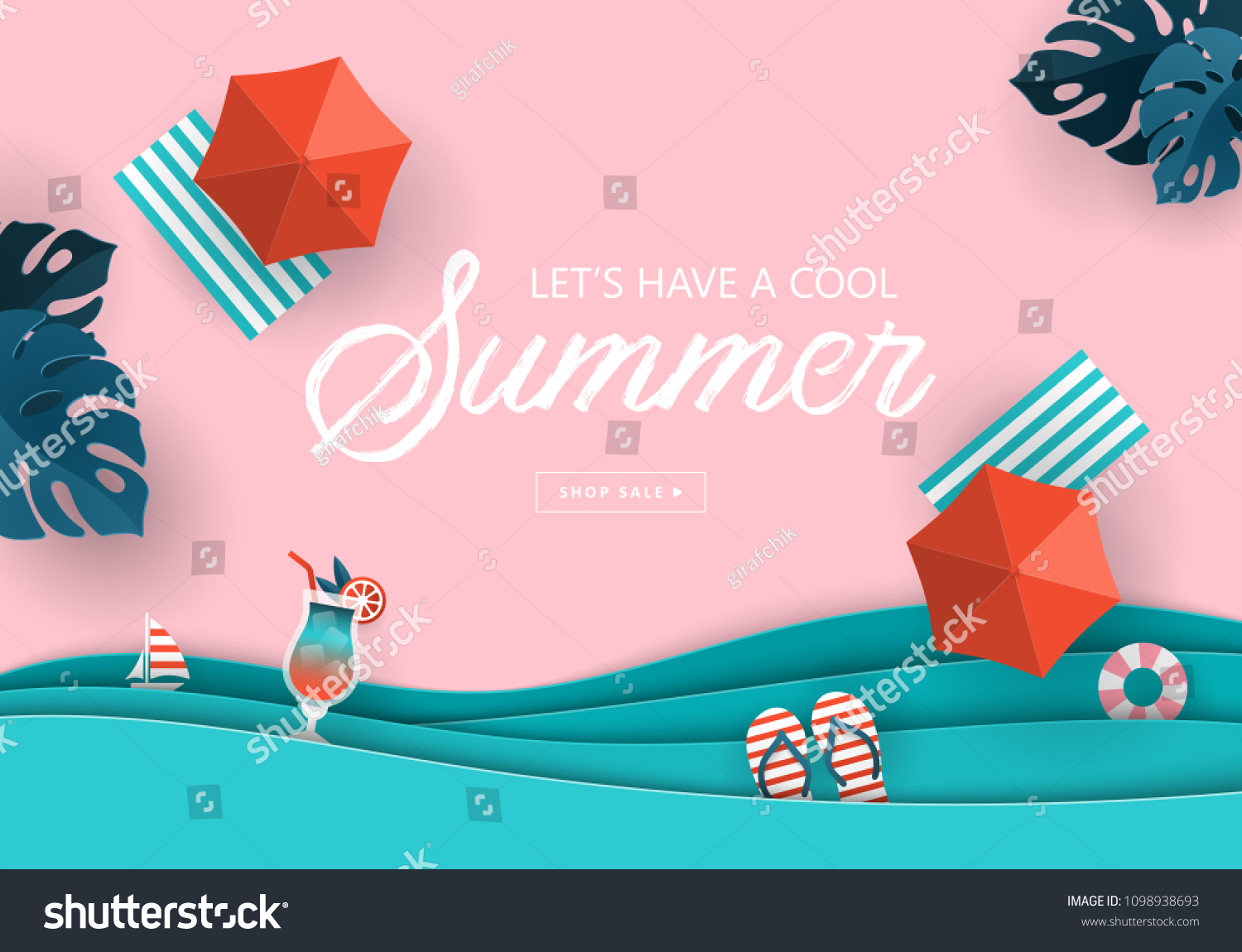 Summer sale banner design with paper cut tropical beach top view background. Vector illustration #1098938693