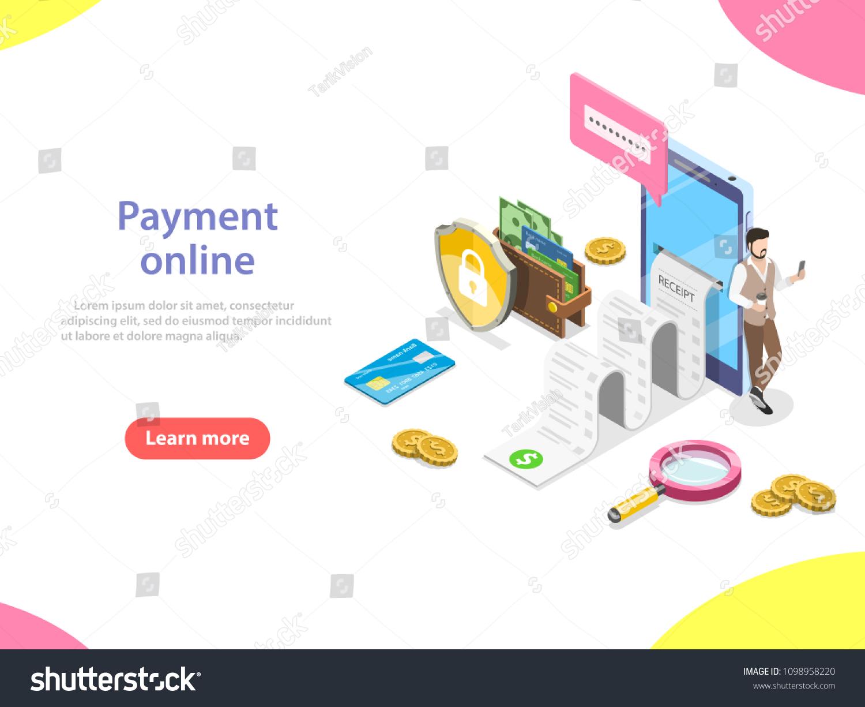 Flat Isometric Concept Receipt Online Payment Stockillustration ...