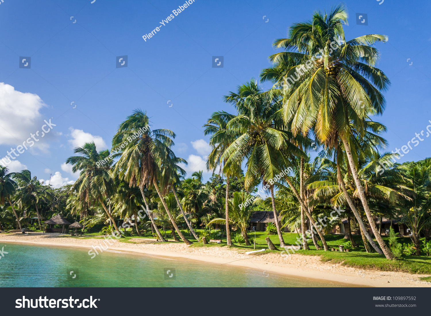 Tropical Landscape With Palm Trees On The Beach