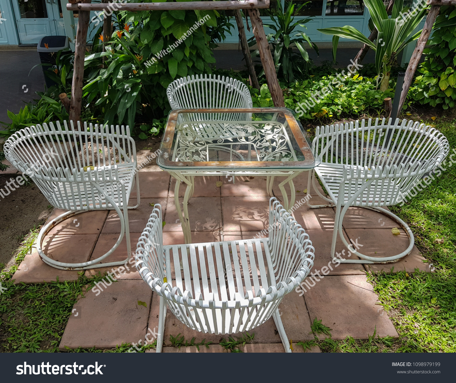 Bangkok thailand may 26 2018table and chairs in the garden to
