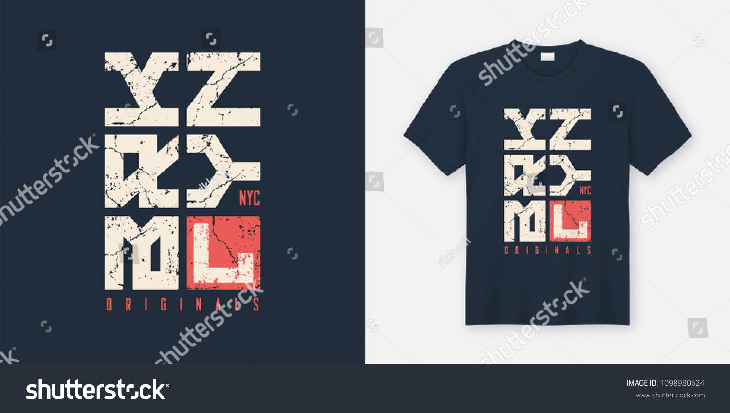 96d415ab Brooklyn New York textured t-shirt and apparel design, typography, print,  vector